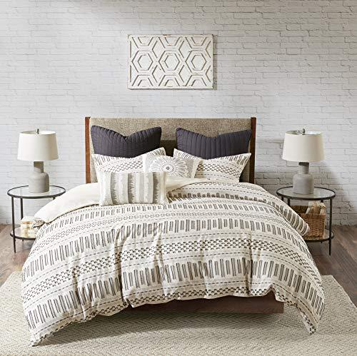 INKIVY 100 Cotton Duvet Mid Century Modern Design All Season Comforter Cover Bedding Set Matching Shams FullQueen88x92 Rhea Ivory Geometric Clipped Jacquard 3 Piece 0
