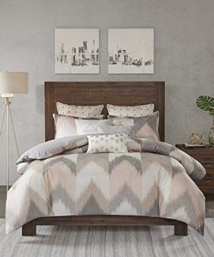 InkIvy Alpine Duvet Cover FullQueen Size Blush Grey Ivory Pieced Chevron Duvet Cover Set 3 Piece 100 Cotton Light Weight Bed Comforter Covers 0 300x360