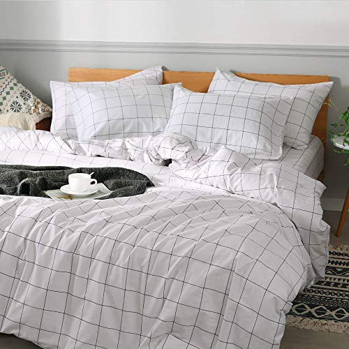 JELLYMONI 100 Natural Cotton 2pcs Plaid Duvet Cover SetsWhite With Black Grid Geometric Pattern Printed Comforter Coverwith Zipper Closure Corner TiesTwin Size 0 0