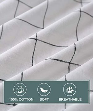 JELLYMONI 100 Natural Cotton 2pcs Plaid Duvet Cover SetsWhite With Black Grid Geometric Pattern Printed Comforter Coverwith Zipper Closure Corner TiesTwin Size 0 2 300x360
