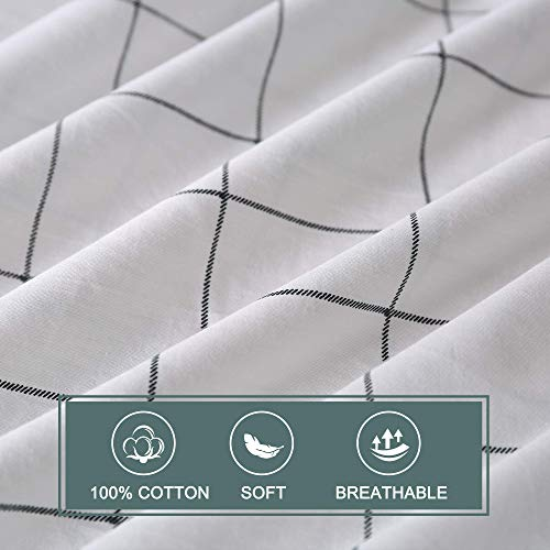 JELLYMONI 100 Natural Cotton 2pcs Plaid Duvet Cover SetsWhite With Black Grid Geometric Pattern Printed Comforter Coverwith Zipper Closure Corner TiesTwin Size 0 2