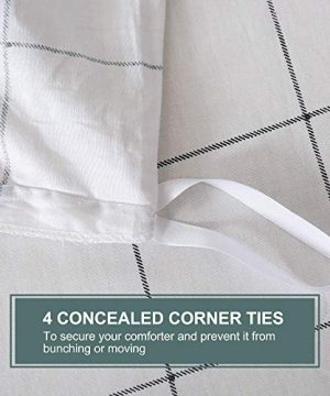 JELLYMONI 100 Natural Cotton 2pcs Plaid Duvet Cover SetsWhite With Black Grid Geometric Pattern Printed Comforter Coverwith Zipper Closure Corner TiesTwin Size 0 4 300x360