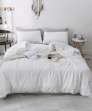 Janzaa 2 PCS Home Pom Duvet Cover Set Twin Size With Pillow Shames For Bedding Room White Twin 0 300x360