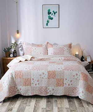 KASENTEX Country Chic Printed Pre Washed Quilt Set Microfiber Fabric Quilted Pattern Bedding Multi Pink Twin 1 Sham 0 0 300x360