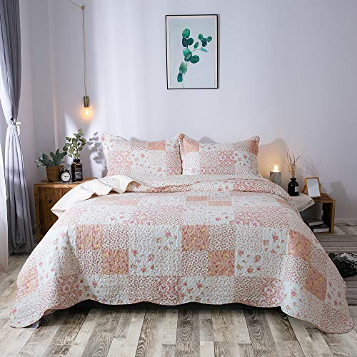 KASENTEX Country Chic Printed Pre Washed Quilt Set Microfiber Fabric Quilted Pattern Bedding Multi Pink Twin 1 Sham 0 0