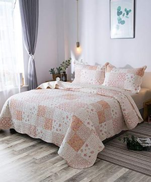 KASENTEX Country Chic Printed Pre Washed Quilt Set Microfiber Fabric Quilted Pattern Bedding Multi Pink Twin 1 Sham 0 1 300x360