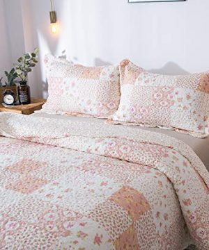 KASENTEX Country Chic Printed Pre Washed Quilt Set Microfiber Fabric Quilted Pattern Bedding Multi Pink Twin 1 Sham 0 2 300x360