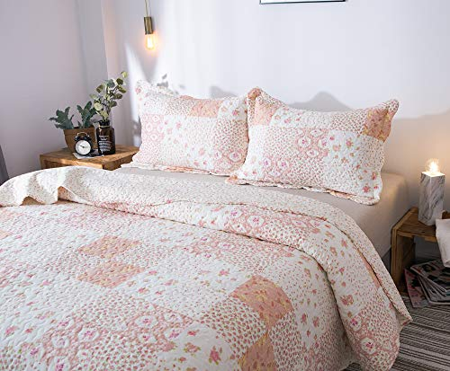 KASENTEX Country Chic Printed Pre Washed Quilt Set Microfiber Fabric Quilted Pattern Bedding Multi Pink Twin 1 Sham 0 2