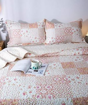 KASENTEX Country Chic Printed Pre Washed Quilt Set Microfiber Fabric Quilted Pattern Bedding Multi Pink Twin 1 Sham 0 3 300x360