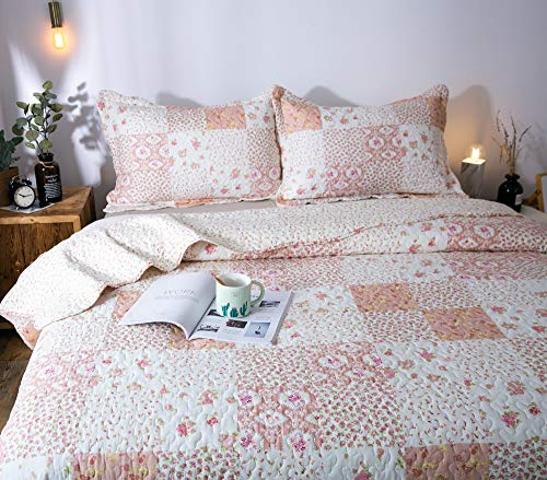 KASENTEX Country Chic Printed Pre Washed Quilt Set Microfiber Fabric Quilted Pattern Bedding Multi Pink Twin 1 Sham 0 3