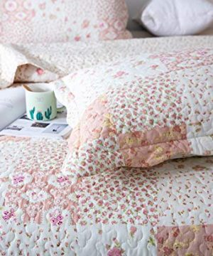 KASENTEX Country Chic Printed Pre Washed Quilt Set Microfiber Fabric Quilted Pattern Bedding Multi Pink Twin 1 Sham 0 4 300x360