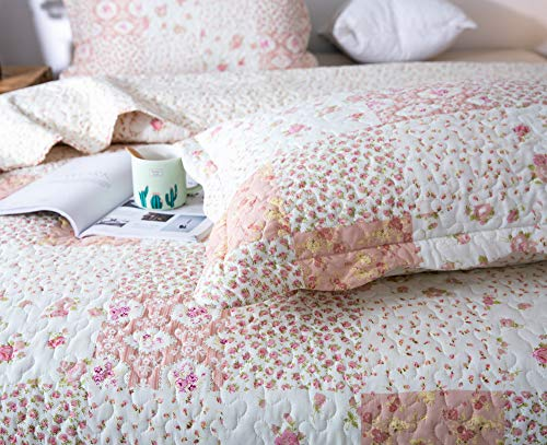 KASENTEX Country Chic Printed Pre Washed Quilt Set Microfiber Fabric Quilted Pattern Bedding Multi Pink Twin 1 Sham 0 4
