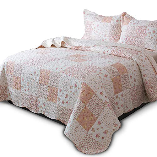 KASENTEX Country Chic Printed Pre Washed Quilt Set Microfiber Fabric Quilted Pattern Bedding Multi Pink Twin 1 Sham 0