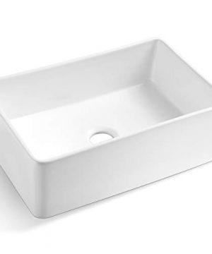 Koozzo 30 Inch White Farmhouse Fireclay Kitchen Sink Rectangular Single Bowl R285 0 300x360