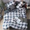 LAMEJOR Duvet Cover Set Twin Size PlaidGrid Pattern Reversible Hotel Luxury Soft Bedding Set Comforter Cover Set1 Duvet Cover 2 Pillowcases 0 100x100