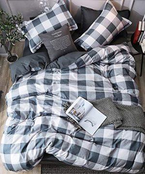 LAMEJOR Duvet Cover Set Twin Size PlaidGrid Pattern Reversible Hotel Luxury Soft Bedding Set Comforter Cover Set1 Duvet Cover 2 Pillowcases 0 300x360