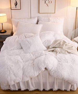 LIFEREVO Luxury Plush Shaggy Duvet Cover Set 1 Faux Fur Duvet Cover 1 Pompoms Fringe Pillow Sham Solid Zipper Closure Twin White 0 300x360