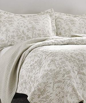 Laura Ashley Home Amberley Collection Luxury Premium Ultra Soft Quilt Coverlet Comfortable 3 Piece Bedding Set All Season Stylish Bedspread King Biscuit 0 0 300x360