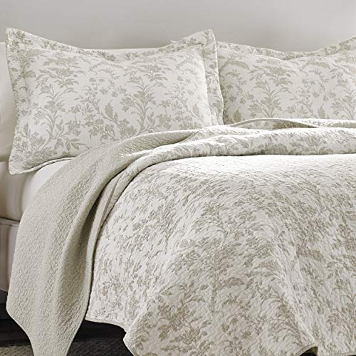 Laura Ashley Home Amberley Collection Luxury Premium Ultra Soft Quilt Coverlet Comfortable 3 Piece Bedding Set All Season Stylish Bedspread King Biscuit 0 0