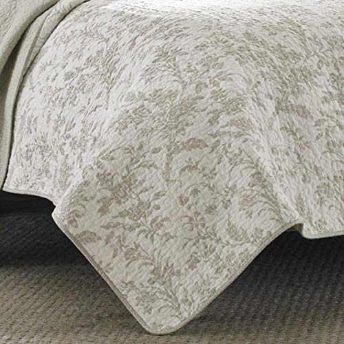 Laura Ashley Home Amberley Collection Luxury Premium Ultra Soft Quilt Coverlet Comfortable 3 Piece Bedding Set All Season Stylish Bedspread King Biscuit 0 1