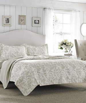 Laura Ashley Home Amberley Collection Luxury Premium Ultra Soft Quilt Coverlet Comfortable 3 Piece Bedding Set All Season Stylish Bedspread King Biscuit 0 300x360