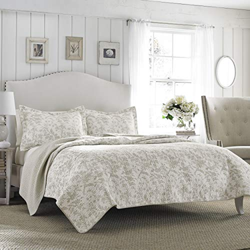 Laura Ashley Home Amberley Collection Luxury Premium Ultra Soft Quilt Coverlet Comfortable 3 Piece Bedding Set All Season Stylish Bedspread King Biscuit 0
