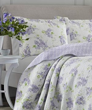Laura Ashley Home Keighley Collection Luxury Premium Ultra Soft Quilt Coverlet Comfortable 2 Piece Bedding Set All Season Stylish Bedspread Twin Lilac 0 0 300x360