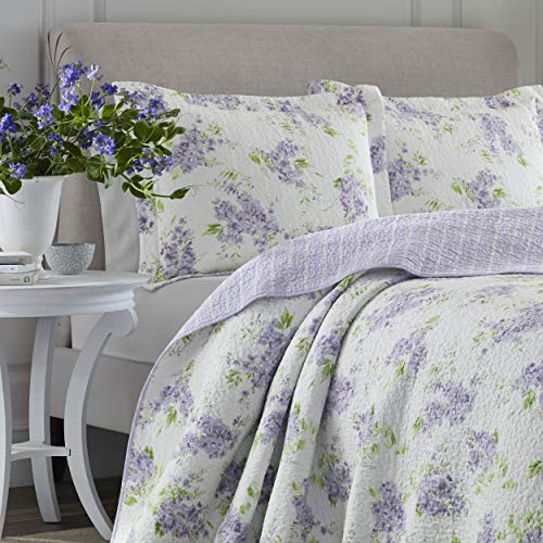 Laura Ashley Home Keighley Collection Luxury Premium Ultra Soft Quilt Coverlet Comfortable 2 Piece Bedding Set All Season Stylish Bedspread Twin Lilac 0 0