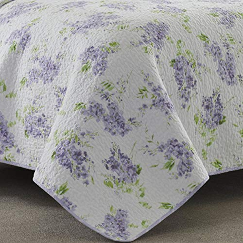 Laura Ashley Home Keighley Collection Luxury Premium Ultra Soft Quilt Coverlet Comfortable 2 Piece Bedding Set All Season Stylish Bedspread Twin Lilac 0 1
