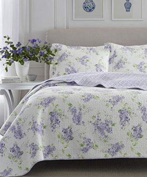 Laura Ashley Home Keighley Collection Luxury Premium Ultra Soft Quilt Coverlet Comfortable 2 Piece Bedding Set All Season Stylish Bedspread Twin Lilac 0 4 300x360