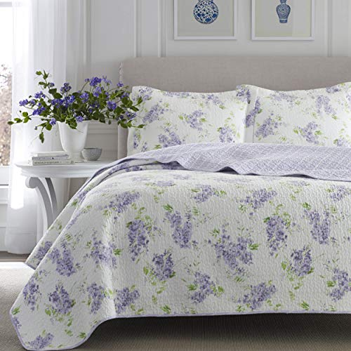 Laura Ashley Home Keighley Collection Luxury Premium Ultra Soft Quilt Coverlet Comfortable 2 Piece Bedding Set All Season Stylish Bedspread Twin Lilac 0 4