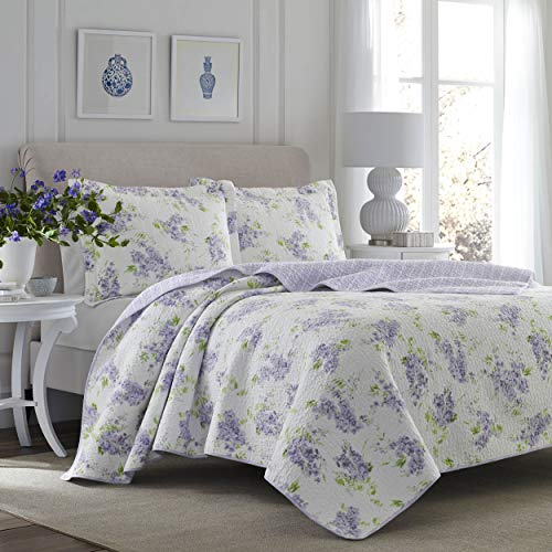 Laura Ashley Home Keighley Collection Luxury Premium Ultra Soft Quilt Coverlet Comfortable 2 Piece Bedding Set All Season Stylish Bedspread Twin Lilac 0
