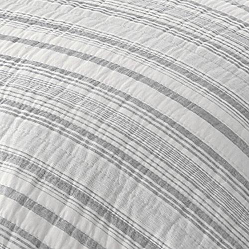 Levtex Bondi Stripe Grrey FullQueen Cotton Quilt Set Grey Stripe 0 0