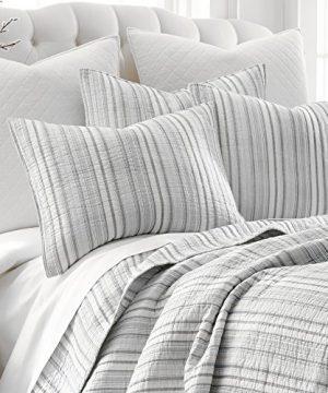 Levtex Bondi Stripe Grrey FullQueen Cotton Quilt Set Grey Stripe 0 1 300x360