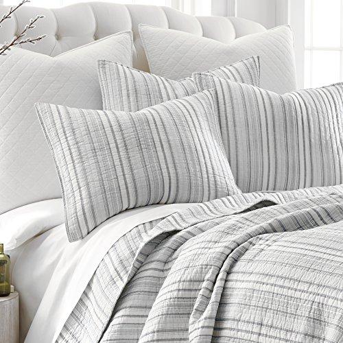 Levtex Bondi Stripe Grrey FullQueen Cotton Quilt Set Grey Stripe 0 1