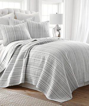 Levtex Bondi Stripe Grrey FullQueen Cotton Quilt Set Grey Stripe 0 300x360