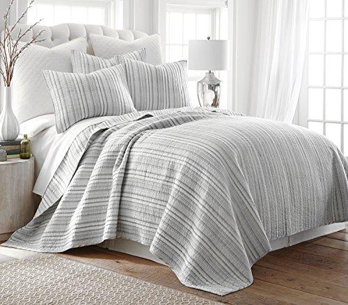 Levtex Bondi Stripe Grrey FullQueen Cotton Quilt Set Grey Stripe 0