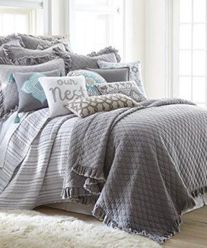 Levtex Grey Stonewashed FullQueen Quilt Set Grey Solid 0 300x360