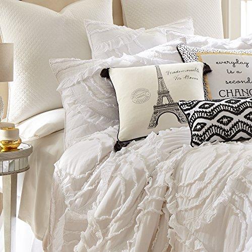 Levtex Home Allie King Cotton Quilt Set White Ruched Ruffles 0 1