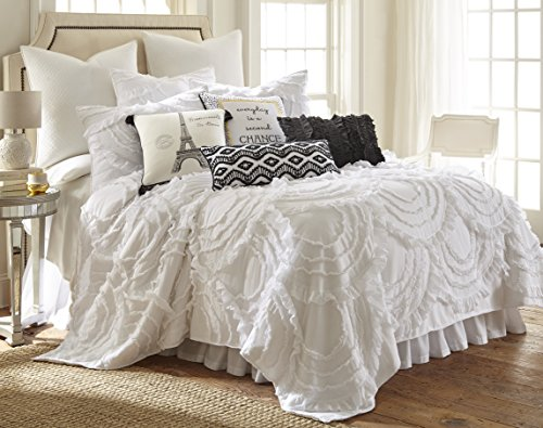 Levtex Home Allie King Cotton Quilt Set White Ruched Ruffles 0