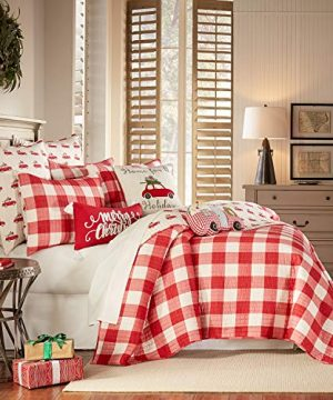 Levtex Home Road Trip Quilt Set FullQueen Quilt Two Standard Pillow Shams Festive Farmhouse Buffalo Check Red And White Quilt Size 88x92in And Pillow Sham Size 26x20in Reversible 0 0 300x360