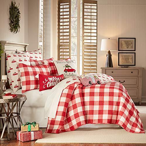 Levtex Home Road Trip Quilt Set Full Queen Two Standard Pillow Shams Festive Farmhouse Buffalo Check Red Goals