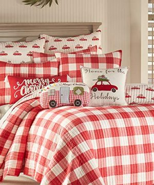 Levtex Home Road Trip Quilt Set FullQueen Quilt Two Standard Pillow Shams Festive Farmhouse Buffalo Check Red And White Quilt Size 88x92in And Pillow Sham Size 26x20in Reversible 0 1 300x360