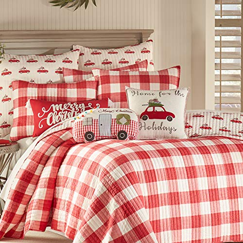 Levtex Home Road Trip Quilt Set FullQueen Quilt Two Standard Pillow Shams Festive Farmhouse Buffalo Check Red And White Quilt Size 88x92in And Pillow Sham Size 26x20in Reversible 0 1
