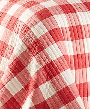 Levtex Home Road Trip Quilt Set FullQueen Quilt Two Standard Pillow Shams Festive Farmhouse Buffalo Check Red And White Quilt Size 88x92in And Pillow Sham Size 26x20in Reversible 0 2 300x360