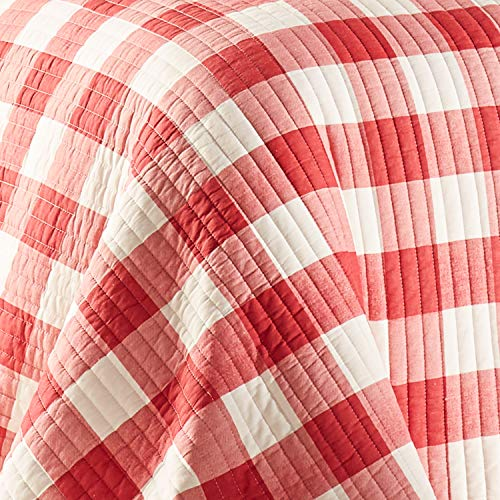 Levtex Home Road Trip Quilt Set FullQueen Quilt Two Standard Pillow Shams Festive Farmhouse Buffalo Check Red And White Quilt Size 88x92in And Pillow Sham Size 26x20in Reversible 0 2