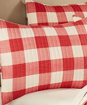 Levtex Home Road Trip Quilt Set FullQueen Quilt Two Standard Pillow Shams Festive Farmhouse Buffalo Check Red And White Quilt Size 88x92in And Pillow Sham Size 26x20in Reversible 0 3 300x360
