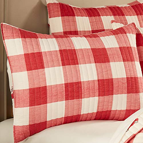 Levtex Home Road Trip Quilt Set FullQueen Quilt Two Standard Pillow Shams Festive Farmhouse Buffalo Check Red And White Quilt Size 88x92in And Pillow Sham Size 26x20in Reversible 0 3
