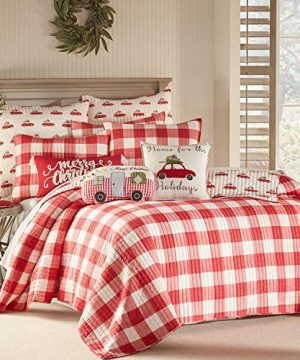 Levtex Home Road Trip Quilt Set FullQueen Quilt Two Standard Pillow Shams Festive Farmhouse Buffalo Check Red And White Quilt Size 88x92in And Pillow Sham Size 26x20in Reversible 0 300x360