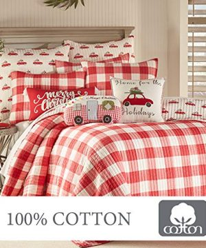 Levtex Home Road Trip Quilt Set FullQueen Quilt Two Standard Pillow Shams Festive Farmhouse Buffalo Check Red And White Quilt Size 88x92in And Pillow Sham Size 26x20in Reversible 0 4 300x360